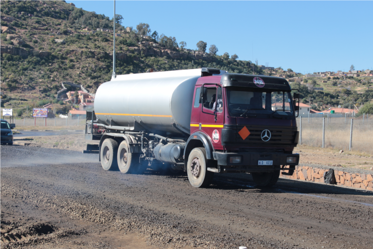 Nthane Brothers Water tanker in Operation during road construction