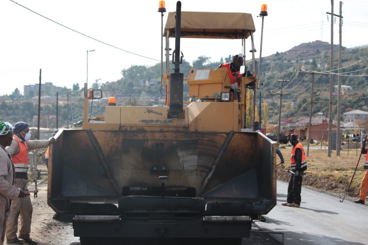 Machinery in operation during road construction